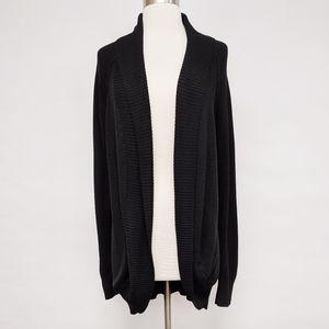 loft   black open front cowl neck wool cardigan L